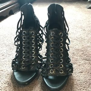 BCBG Strappy leather heels